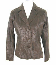 Bamboo Traders Jacket S Brown Vegan Faux Cracked Leather Jacket Small Womens