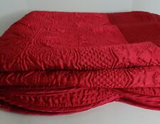 NEW Quilted Satin Coverlet Bedspread Quilt RED Reversible Scalloped Edges