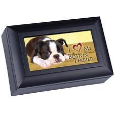 Love My Boston Terrier Matte Black Finish Petite Music Box Wonderful World