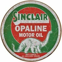 """SINCLAIR DINO GASOLINE/ OPALINE, ROUND 12"""" METAL WALL SIGN/ PETROL, GAS, DINER"""