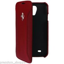 FERRARI PREMIUM BOOK CASE LEATHER POUCH for Samsung Galaxy S4 I9500 F12 Red Red