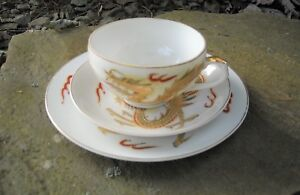 ANTIQUE JAPANESE KUTANI EGG SHELL PORTRAIT CUP SAUCER & UNDERPLATE DRAGONS