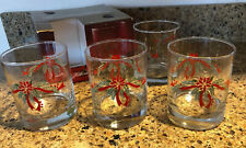 Set Of 3 Vintage Poinsettia & Ribbons Christmas Glasses Anchor Hocking 9oz.