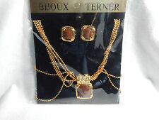 Bijoux Terner Gold Tone Necklace with Matching Earings