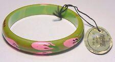 VTG Green Hand Painted Bakelite Marblelite Original Tag Bangle Bracelet Tested