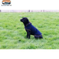 Jack Pyke Fleece Warm Dog Coats In Olive Green / Navy Blue with Nubuk Trim
