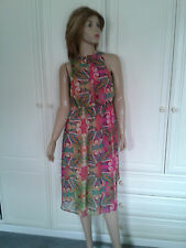 ATMOSPHERE MULTI COLOURED SEMI SHEER DRESS SIZE 14 LINED DIPPED HEMLINE