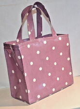 Dee's Handmade Totes- Cotton Oilcloth Lunch/Childs Bag - Lilac Purple Spot