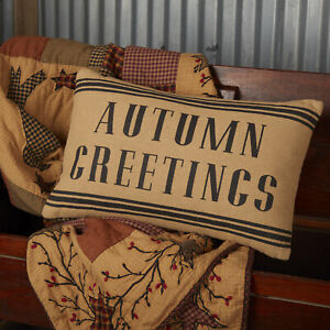 """VHC Brands Primitive 14""""x22"""" Autumn Greetings Pillow Tan Stenciled Holiday Decor"""