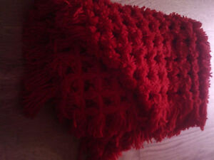 hand made  red pom pom/bobble blanket  approx 25 inch x 32inch
