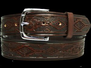 Men's Leather Western Leather Belt Made in USA 32 34 36 38 40 42 44