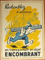 SNCF/French Railroad Safety Poster - Man w/Railroad Tie/Lumber, Artist-Signed