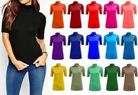 NEW WOMEN LADIES BASIC POLO TURTLE NECK SHORT 3/4 SLEEVE TOP VEST T SHIRT UK8-26