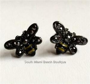 Bumble Bee Earrings Yellow Enamel Marcasite Black Crystal Post Pierced US Seller