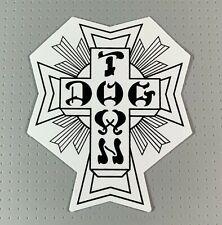 """Dogtown Black/White Cross Skateboard Sticker 4"""" white variation Dog Town"""