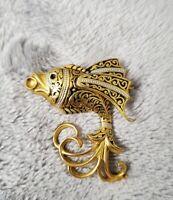 Vintage Goldtone Damascene Toledo FISH BROOCH  costume Jewellery