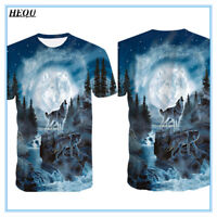 Moon Forest Wolf 3D Print Men Casual T-Shirt Crew Neck Short Sleeve Graphic Tee