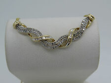 """TURKEY 14k Yellow Gold Round Baguette Diamond Weave Chain Link Necklace 15.5"""""""