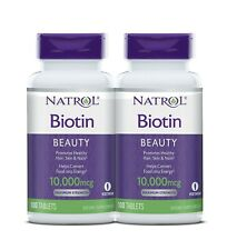 Natrol Biotin 10,000 mcg Maximum Strength 100 tablets NEW PACK OF 2