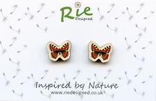 Handmade Wooden Tortoiseshell Butterfly Insect Stud Earrings