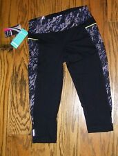 Womens Marika Tek Performance Fitted Capri Yoga Black Multi Rock NWT Size M 8-10