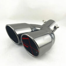 "2.5"" Inlet Round Car Dual Exhaust Pipe Stainless Steel Tail Pipe Muffler Tip New"