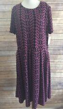 Lularoe Amelia Dress Purple Black Abstract Tribal Geometric Stripe Print 3XL