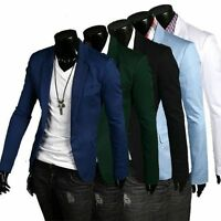 Fashion Men's Casual Slim Fit One Button Suit Blazer Coat Jacket Tops Suits HOT