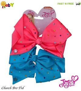 New Nickelodeon JoJo Siwa Bow Set - Neon Blue/Neon Pink Girls Hair 2 Bow Set