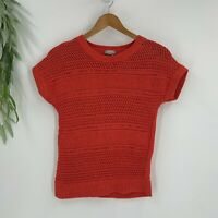 Chico's Sweater Womens Size 0 S Orange Open Knit Cotton Blend Short Sleeve