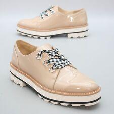 Zara Ladies 39 Platform Tan Faux Patent Leather Derby Bow Detail Lace-up Oxfords