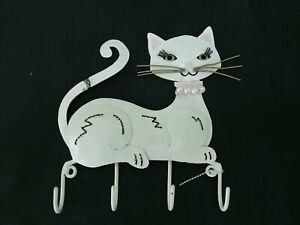 Cat Key Metal Holder White with 4 Hooks