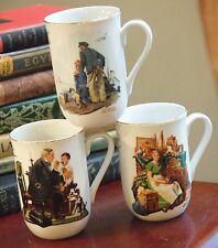Set 3 Norman Rockwell Mug Ceramic Used For Display Only Excellent Condition