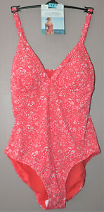 M&S PLUNGE SWIMSUIT WITH SECRET SLIMMING REMOVABLE CUPS SIZE 14 RED MIX -  BNWT