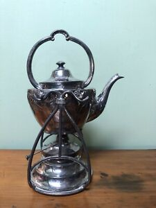Beautiful ~* Antique Art Nouveau Silver Plate Tea Pot Kettle Samovar & Burner