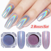2 Boxes Kit Holographic Nail Glitter Powder  Laser Silver Pigment Dust