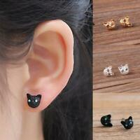 1 paar Katze Kätzchen Ohrringe Super Nette Schwarz, Gold, Weiß Katze I6Z4
