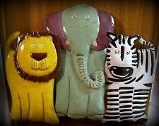 "New Metal Wall Art - African Animals - Lion, Elephant & Zebra  18""H x 21.75""W"