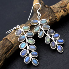 925 Sterling Silver New Year Special Natural Labradorite Gemstone Earrings Pair
