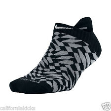 NIKE No Show Tab Dri-FIT Running Socks sz M Medium (6-10) Black Grey Elite Run