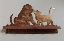 Puppy Kitten Wall Mount Decorative Metal Art Key Holder Rack with Shelf