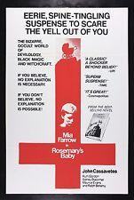 ROSEMARY'S BABY * CineMasterpieces ORIGINAL HORROR MOVIE POSTER 1968 RARE STYLE