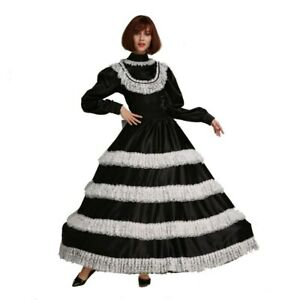 Sissy Maid Deep Lace Lockable Black Satin Long Dress cosplay Costume Tailor-made