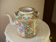 Famille Rose Medallion 19th Century Canton Teapot With Lid