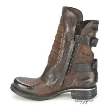 Womens Ankle Boots Vintage Genuine Leather Buckle Punk Motocycle Combat Boots SZ