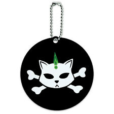 Skulls Crossbones Cat Stick Figure Family Pet Round Luggage ID Tag Card Suitcase