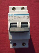Réf NF220 OU NFN220 DISJONCTEUR HAGER 2P 20A 6/10kA COURBE C 230;400V NEUF