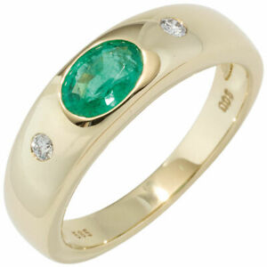 Ring Women's Ring With Emerald Green & Diamonds, 585 Yellow Gold