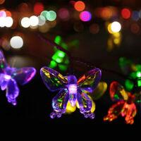 LED Solar Power Fairy butterfly Light String Lamp Party Garden Outdoor Decor US