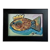 """PAINTING ORIGINAL ACRYLIC ON FIBERBOARD (FRAME INCLUDED) 4X6"""" By LISA."""